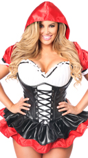 Plus Size Deluxe Red Riding Hood Corset Costume - Red