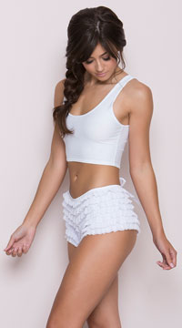 White Ruffle Panty with Bow - White
