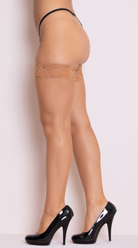 Fishnet Thigh High with Silicone Lace Top - Nude