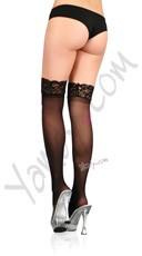 Lace Top Sheer Thigh High - Black