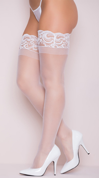 Sheer Thigh High with Stay up Silicone Lace Top - White
