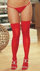 Plus Size Sheer Thigh High with Back Seam - Red