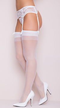 Sheer Thigh High with Back Seam - White