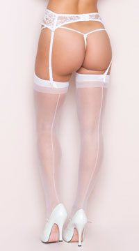 Plus Size Sheer Thigh High with Back Seam - White