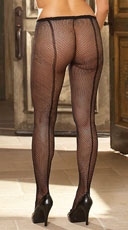 Plus Size Fishnet Pantyhose with Back Seam - as shown