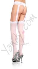 Plus Size Sheer Garterbelt Pantyhose - White