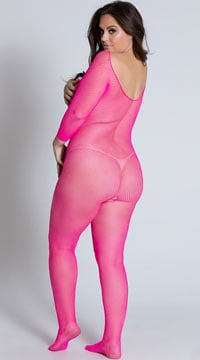 Plus Size Sweet and Salty Bodystocking - Neon Pink