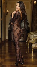 Lace Bodystocking with 3/4 Length Sleeves - Black