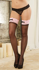 Sheer Thigh High with Contrast Bow Lace Top - Black/Pink