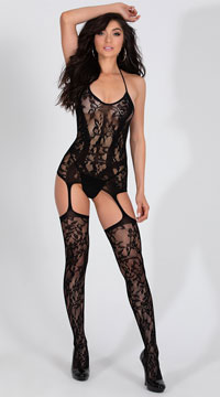 Lacy Garter Dress with Stockings - Black
