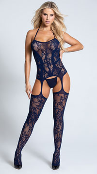 Lacy Garter Dress with Stockings - Midnight