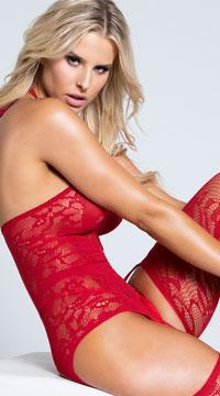 Lacy Garter Dress with Stockings - Garnet