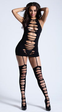 Ripped Garter Dress - Black