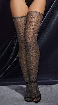 Glittering Diamond Thigh High Stockings - Black