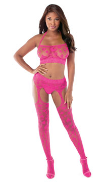 Hot Pink Love Me Garterstocking Set - Hot Pink