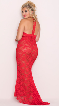 Plus Size Long Lace Gown and Panty - Lipstick Red