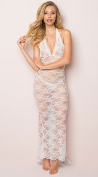 Long Lace Gown and Panty - White