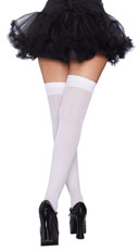 Bow Top Thigh Highs - White