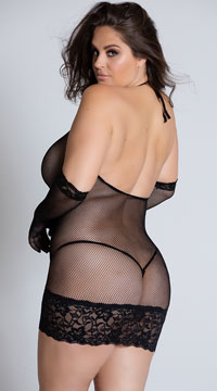 Plus Size Seamless Fishnet Chemise with Glove Restraints - Black