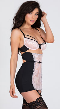 Dainty Lace Garter Chemise - Black/Pink