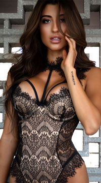 Stunning Lace Harness Teddy - Black/Gold
