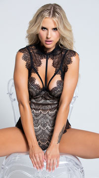 Stunning Lace Harness Teddy - as shown
