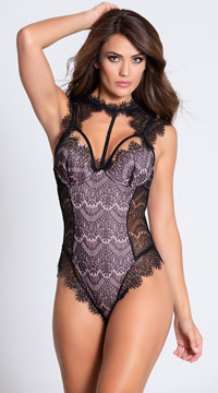 Stunning Lace Harness Teddy - Black/Vintage Rose