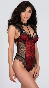 Stunning Lace Harness Teddy - Black/Red