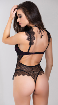 Stunning Lace Harness Teddy - Black/Plum