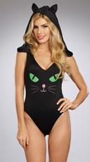 Pretty Kitty Bodysuit - Black/Pink