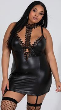 Plus Size Venetian Lace and Vinyl Chemise - Black
