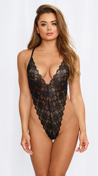 Mosaic Lace Teddy and Mesh Skirt - Black