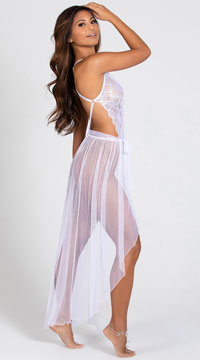 Mosaic Lace Teddy and Mesh Skirt - White