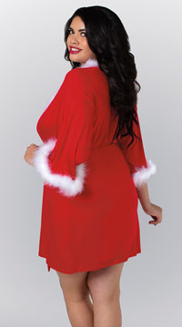 Plus Size Sexy Santa Robe - Ruby