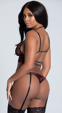 Cage Me In Lace Hearts Garter Set - Black/Red