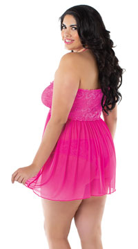 Plus Size Love Me Lace Babydoll Set - Hot Pink