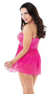 Love Me Lace Babydoll Set - Hot Pink