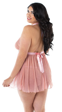 Plus Size Bedazzled Babydoll Set - Rose Gold