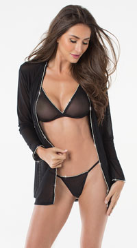 Glitter Goddess Robe Set - Black