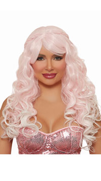 Braided Pink Mermaid Wig - Pink/White