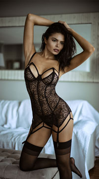 Caught In Your Web Chemise Set - Black