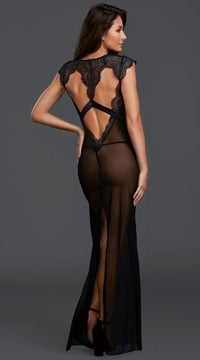 Midnight Whispers Lingerie Gown - Black