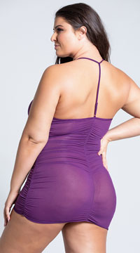 Plus Size Shock Me Zipper Chemise Set - Plum