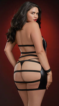 Plus Size Trapped In Your Love Chemise Set - Black
