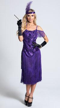 Miss Ritz Costume, Purple Flapper Costume - Yandy.com