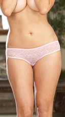 Plus Size Open Crotch Low Rise Panty - Pink