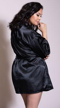 Plus Size Charmeuse Babydoll and Robe Set - Black