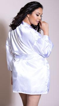 Plus Size Charmeuse Babydoll and Robe Set - White