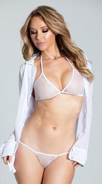Chiffon Shirt Robe - White