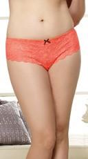 Plus Size Lace Open Crotch Short - Coral